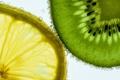 Картинка вода, пузырьки, лимон, еда, киви, долька, воздух