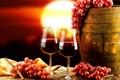 Картинка закат, вино, виноград, бокалы, фон, бочка, красный