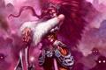 Картинка axe, red, woman, eyes, Warrior, demons