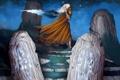 Картинка девушка, звезды, ночь, ветер, магия, арт, Fabio Paciulli