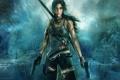 Картинка лук, Lara Croft, девушка, кровь, оружие. пистолеты, арт, Tomb Raider