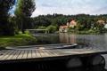 Картинка лес, деревья, мост, река, дома, Германия, Бавария
