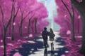 Картинка девушка, деревья, город, дома, аниме, сакура, арт