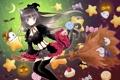 Картинка девушка, звёзды, аниме, сладости, полёт, ведьма, метла