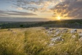 Картинка закат, камни, Ingleton, трава, Англия, England