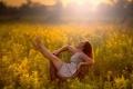 Картинка поле, лето, девушка, солнце, кресло, Relax