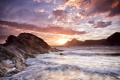 Картинка море, волны, пляж, скалы, берег, расвет