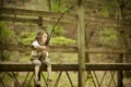 Картинка мост, настроение, рыбалка, девочка