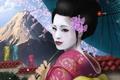 Картинка девушка, азия, гора, зонт, сакура, арт, гейша