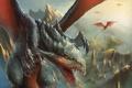 Картинка высота, полет, арт, крылья, псть, в небе, драконы