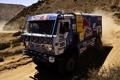 Картинка дорога, горы, пыль, грузовик, передок, дакар, dakar
