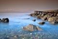 Картинка море, небо, вода, мост, камни, берег