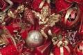 Картинка зима, шарики, игрушки, ангелы, Новый Год, Рождество, красные