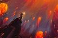 Картинка трубы, огонь, магия, арт, парень, сфера, колонна