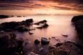 Картинка море, небо, облака, закат, камни, вечер, швеция