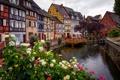 Картинка Кольмар, небо, дома, фахверк, Франция, канал, цветы