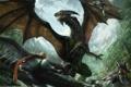 Картинка люди, дракон, битва, Michael Anthony Gonzales