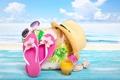 Картинка пляж, лето, отдых, шляпа, бассейн, очки, summer