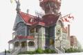 Картинка человек, Дом, лестницы, балкон, флаги, скульптуры