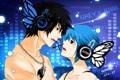 Картинка девушка, бабочки, пара, микрофон, Аниме, парень, цепочка