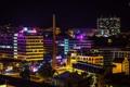 Картинка небо, ночь, город, огни, труба, photographer, Josef Kadela