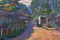 Картинка мальчик, рельсы, Naohisa Inoue, арки, аниме, станция, деревья