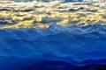 Картинка облака, горы, вид, пик, гряда