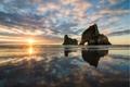 Картинка море, солнце, закат, скала, арка, новая зеландия