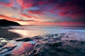 Картинка закат, камни, небо, море