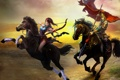 Картинка поле, девушка, закат, всадница, флаг, лошади, лук