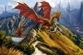Картинка горы, мост, люди, холмы, драконы, арт, дорожка