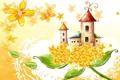Картинка цветы, лепестки, стебель, домики