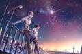 Картинка звезды, ночь, город, фонари, парни, падающая звезда, Kuroko no Basket