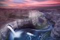 Картинка небо, водопад, розовое, каньон