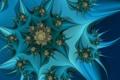 Картинка цветок, синий, фон, фрактал