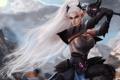 Картинка девушка, эльф, меч, фэнтези, белые волосы, art