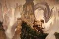 Картинка горы, дракон, когти, кинжал, мужчина, Арт