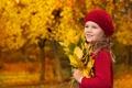 Картинка осень, взгляд, листья, деревья, улыбка, блондинка, девочка