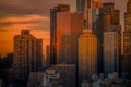 Картинка закат, город, здания, небоскребы, New York City, нью йорк