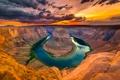 Картинка небо, закат, тучи, река, каньон, ущелье