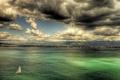 Картинка облака, паруса, море, побережье, дома, Sorrento, Италия