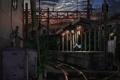 Картинка девушка, закат, метро, станция, вечер, арт, форма