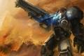 Картинка огонь, дым, развалины, винтовка, десант, Starcraft