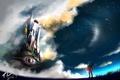 Картинка небо, звезды, облака, оружие, замок, меч, аниме