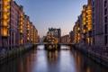 Картинка дома, Гамбург, канал, Германия, огни