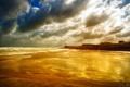 Картинка море, пляж, небо, облака, золото