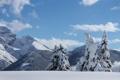 Картинка зима, небо, снег, деревья, горы