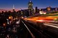 Картинка дорога, свет, машины, ночь, город, метро, поезд