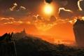 Картинка небо, солнце, облака, замок, дракон, корабли