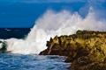 Картинка волны, небо, вода, облака, природа, океан, скалы